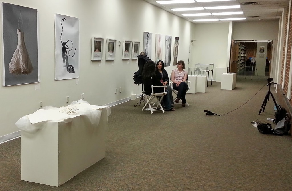 MFA student Ceci Cole Mcinturff interviews Mason alum Stephanie Booth and Asma Chaudhary in Fenwick Gallery.