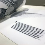 "A detail of the artists book ""Aleatory II: Aviary"", with text by Marcos L. Martínez and drawings by Ariel Rudolph Harwick."