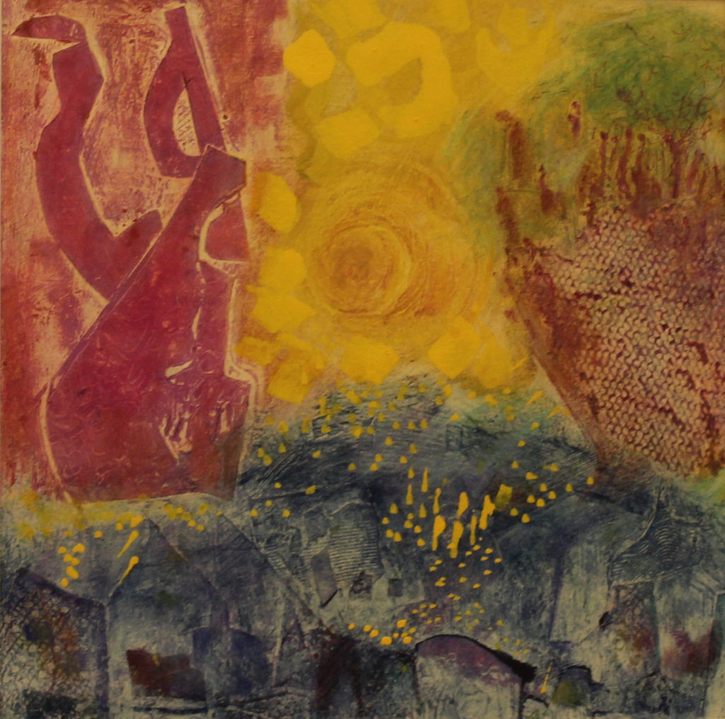 image of a mixed-media monoprint in red, yellow, green, and blue
